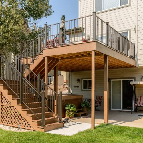 Low-maintenance deck, timbertech decking, Fortress Railing, Pine Creek