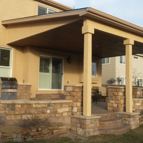 Patio cover, build in grill, stone work, Delta Heat grill, Wolf Ranch