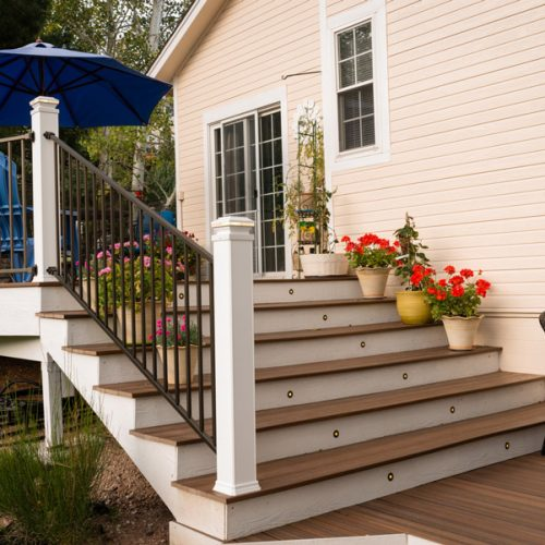 Timbertech Pro Reserve decking, Radiance Railing, low-voltage deck lighting, mountain shadows