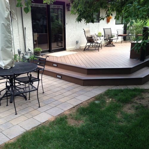 Timbertech decking, paver patio, Colorado Springs