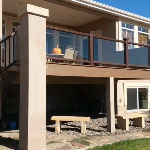 Glass railing, Timbertech decking, Pine Creek