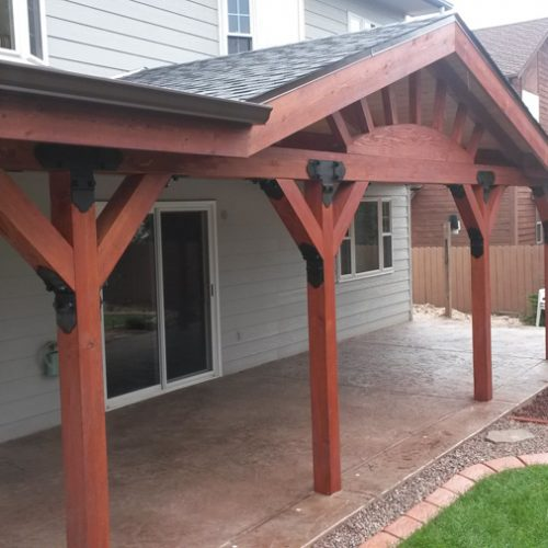 Patio cover, stamped and colored concrete, Colorado springs