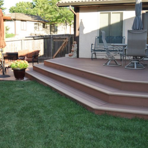 Evergrain decking, stamped and colored concrete, arbor