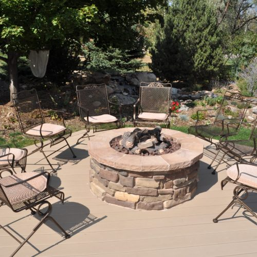 custom firepit, Azek Decking, Broadmoor Bluffs