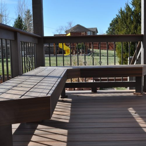 custom low-maintenance bench, Fiberon Ipe decking, Kettle Creek