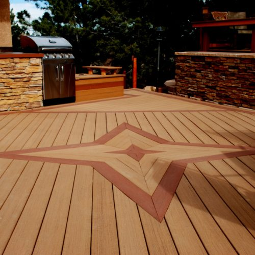 Evergrain decking, custom benches, built-in grill, Rockrimmon