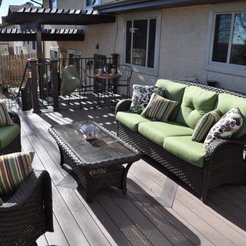 Azek decking, pergola, Belgard pavers, Timbertech radiance railing