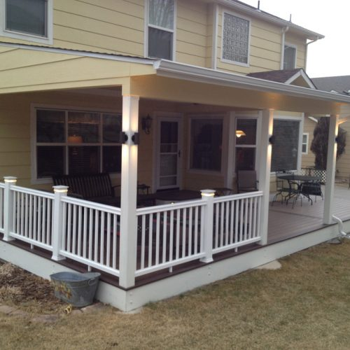 Azek decking, patio cover, Timbertech Radiance Railing, Mountain Shadows
