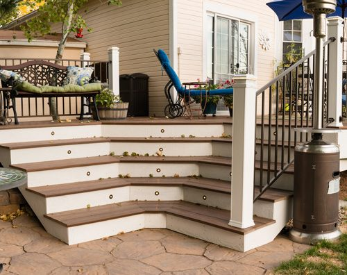 Timbertech decking, Timbertech Radiance railing, low-voltage lighting, Mountain Shadows