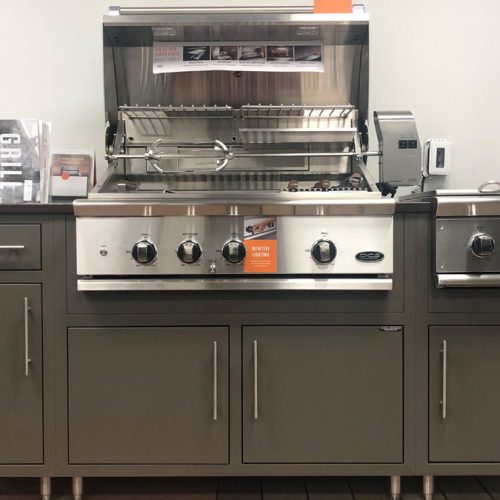 Challenger outdoor cabinets, DCS built-in grill, DCS side burner