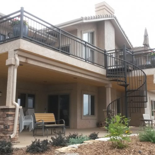 Timbertech decking, custom wrought iron railing, spiral stairs, Rockrimmon